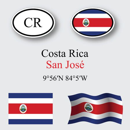 costa rica icons set against gray background, abstract vector art illustration, image contains transparency