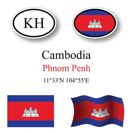 transparency: cambodia icons set icons set against white background, abstract vector art illustration, image contains transparency