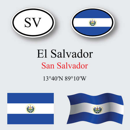 transparency: el salvador icons set against gray background, abstract vector art illustration, image contains transparency