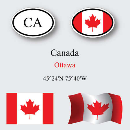 canada flag: canada icons set icons set against gray background, abstract vector art illustration, image contains transparency Illustration