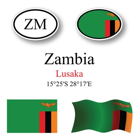 licence: zambia icons set against white background, abstract vector art illustration, image contains transparency Illustration