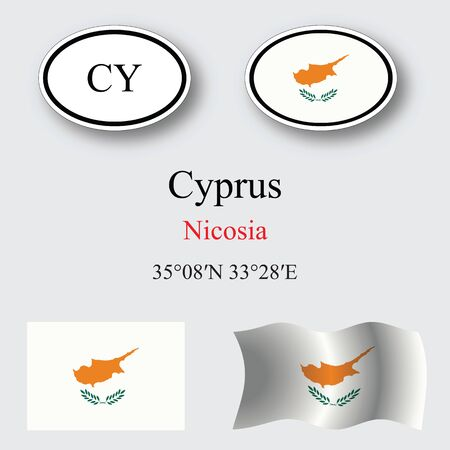 transparency: cyprus icons set against gray background, abstract vector art illustration, image contains transparency