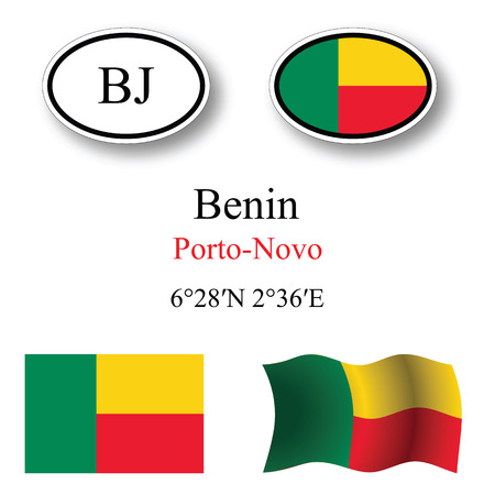 benin icons set against white background, abstract vector art illustration, image contains transparency