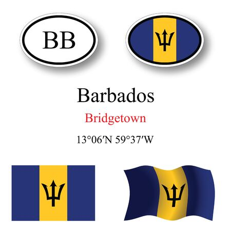 barbados icons set against white background, abstract vector art illustration, image contains transparency Illustration