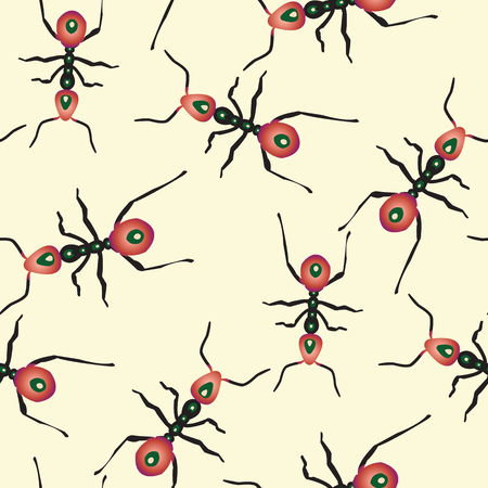 red ants pattern, abstract seamless texture, vector art illustration