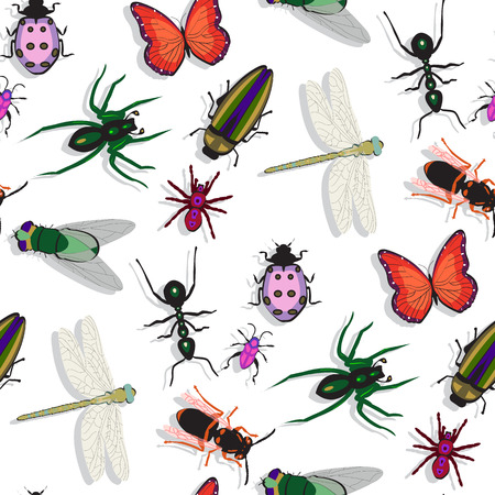 proboscis: colorful insects pattern, abstract seamless texture, vector art illustration