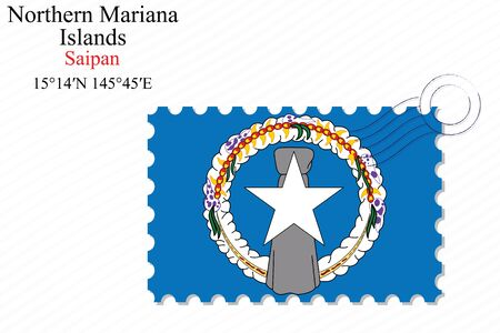 mariana: northern mariana islands stamp design over stripy background, abstract vector art illustration, image contains transparency Illustration