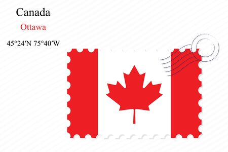 canada stamp: canada stamp design over stripy background, abstract vector art illustration, image contains transparency