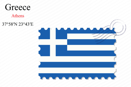 greece stamp: greece stamp design over stripy background, abstract vector art illustration, image contains transparency Illustration