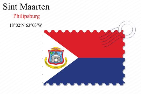 saint martin: saint martin stamp design over stripy background, abstract vector art illustration, image contains transparency Illustration
