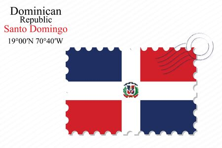 domingo: dominican republic stamp design over stripy background, abstract vector art illustration, image contains transparency Illustration