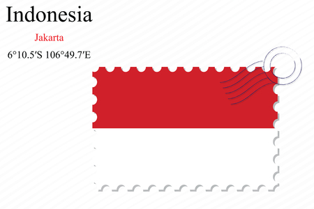 indonesia stamp design over stripy background, abstract vector art illustration, image contains transparency