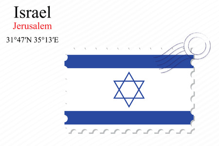 israel stamp design over stripy background, abstract vector art illustration, image contains transparency