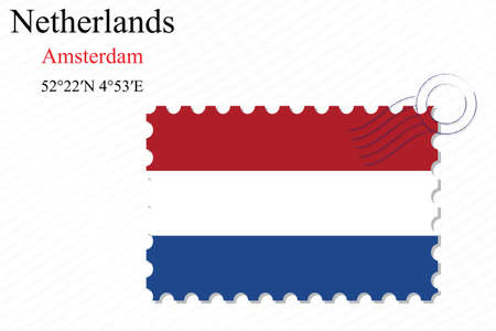 netherlands stamp design over stripy background, abstract vector art illustration, image contains transparency