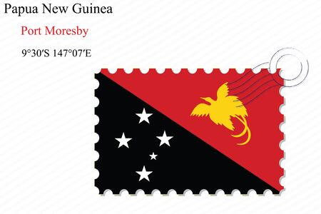 papua new guinea stamp design over stripy background, abstract vector art illustration, image contains transparency