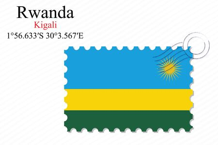 kigali: rwanda stamp design over stripy background, abstract vector art illustration, image contains transparency Illustration