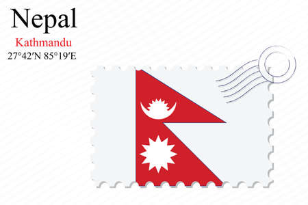 nepal stamp design over stripy background, abstract vector art illustration, image contains transparency Фото со стока - 51525182