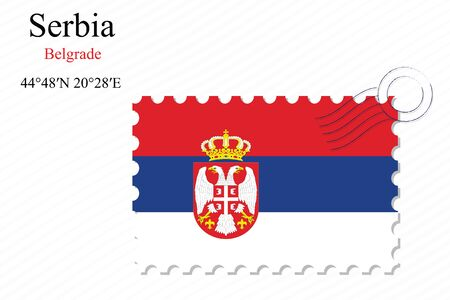 serbia stamp design over stripy background, abstract vector art illustration, image contains transparency