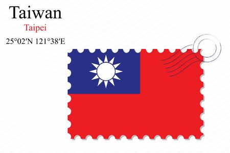 taiwan stamp design over stripy background, abstract vector art illustration, image contains transparency