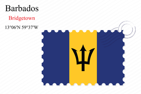 barbados stamp design over stripy background, abstract vector art illustration, image contains transparency