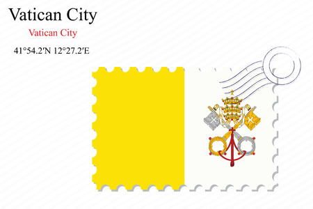 vatican city: vatican city stamp design over stripy background, abstract vector art illustration, image contains transparency Illustration