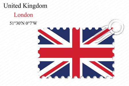 united kingdom stamp design over stripy background, abstract vector art illustration, image contains transparency