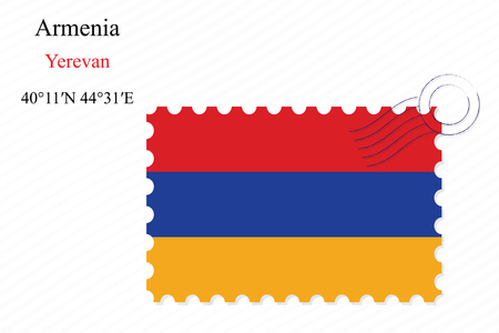yerevan: armenia stamp design over stripy background, abstract vector art illustration, image contains transparency Illustration