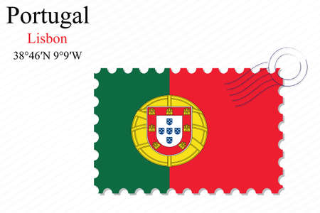 portugal stamp design over stripy background, abstract vector art illustration, image contains transparency