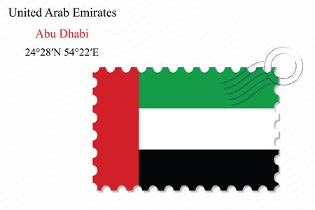 united arab emirates stamp design over stripy background, abstract vector art illustration, image contains transparency