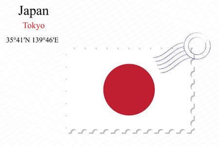 japan stamp design over stripy background, abstract vector art illustration, image contains transparency