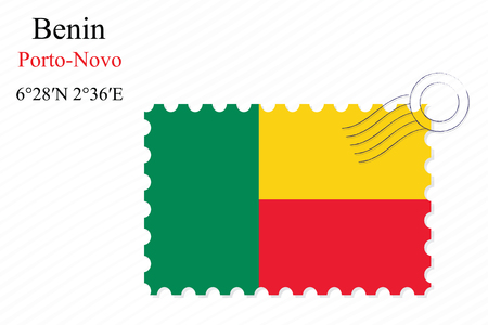 benin stamp design over stripy background, abstract vector art illustration, image contains transparency