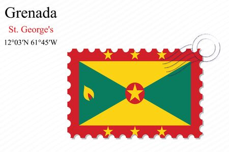 saint george: grenada stamp design over stripy background, abstract vector art illustration, image contains transparency Illustration