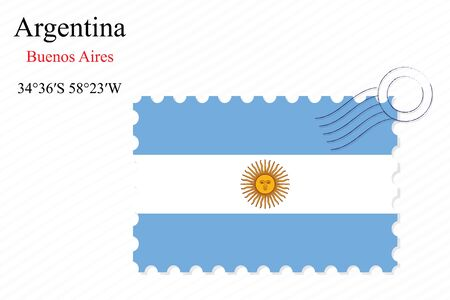 aires: argentina stamp design over stripy background, abstract vector art illustration, image contains transparency