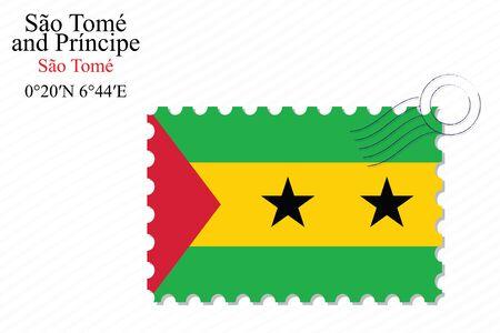 principe: Santo Tomé y Principe diseño del sello sobre el fondo de rayas, ilustración de arte vectorial, la imagen contiene transparencias