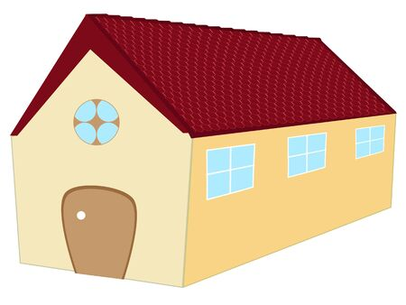 long 3d house against white background, abstract vector art illustration