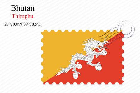 bhutan: bhutan stamp design over stripy background, abstract vector art illustration, image contains transparency Illustration