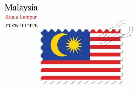 world flags: malaysia stamp design over stripy background, abstract vector art illustration, image contains transparency Illustration