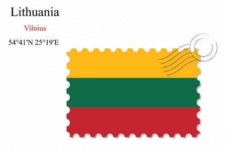 transparency: lithuania stamp design over stripy background, abstract vector art illustration, image contains transparency Illustration