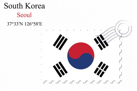 south korea stamp design over stripy background, abstract vector art illustration, image contains transparency