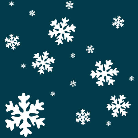 white snow flakes over blue background, abstract vector art illustration Ilustrace