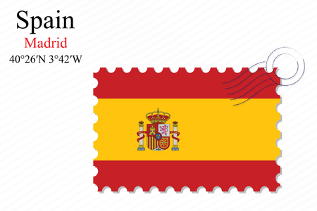 spain stamp design over stripy background, abstract vector art illustration, image contains transparency