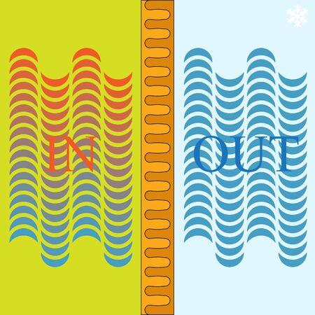 cold room: insulation efficiency panel, abstract vector art illustration Illustration