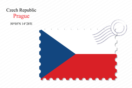 czech republic stamp design over stripy background, abstract vector art illustration, image contains transparency