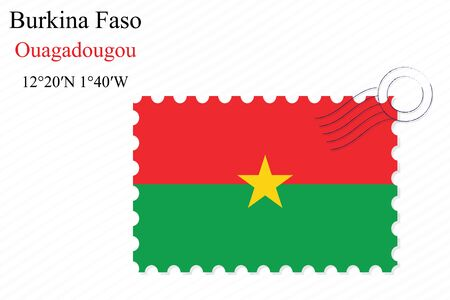 burkina faso stamp design over stripy background, abstract vector art illustration, image contains transparency
