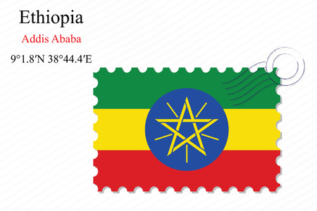 ethiopia abstract: ethiopia stamp design over stripy background, abstract vector art illustration, image contains transparency