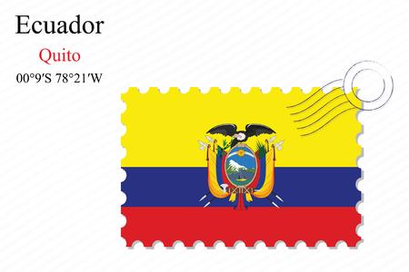 republic of ecuador: ecuador stamp design over stripy background, abstract vector art illustration, image contains transparency