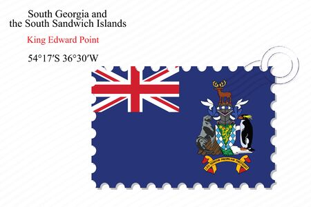 edward: south georgia and the south sandwich islands stamp design over stripy background, abstract vector art illustration, image contains transparency