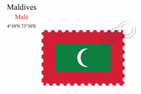 maldives stamp design over stripy background, abstract vector art illustration, image contains transparency