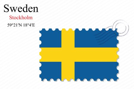 sweden stamp design over stripy background, abstract vector art illustration, image contains transparency