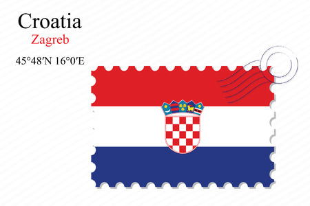 croatia stamp design over stripy background, abstract vector art illustration, image contains transparency